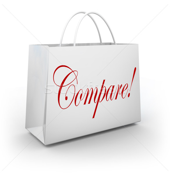 Compare Word Shopping Bag Find Choose Best Bargan Deal Sale Stock photo © iqoncept