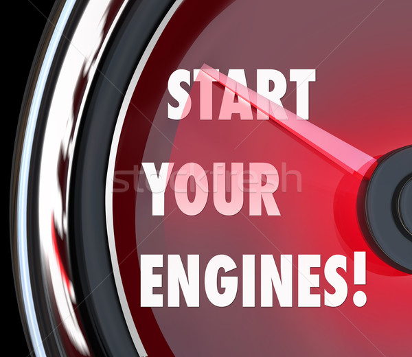 Stock photo: Start Your Engines Speedometer Begin Race Competition Game