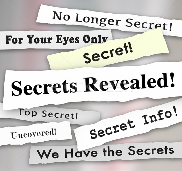 Secrets titres confidentiel info mots Photo stock © iqoncept
