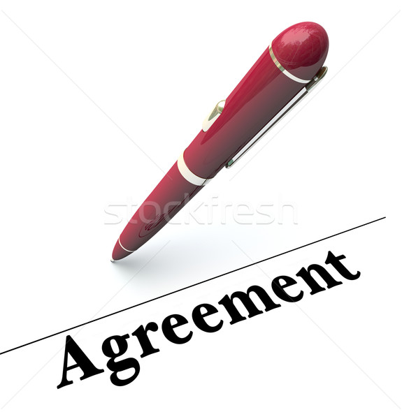Agreement Word Pen Signing Signature Line Legal Document Stock photo © iqoncept