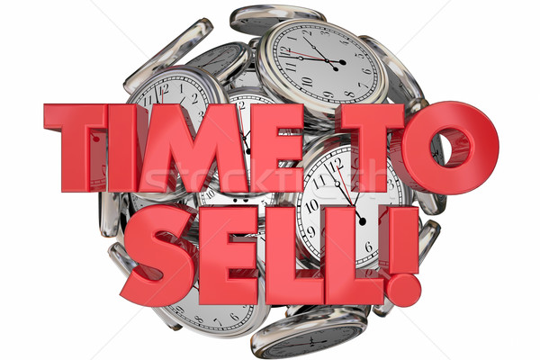 Time to Sell Clocks Sales Make Money Words 3d Animation Stock photo © iqoncept
