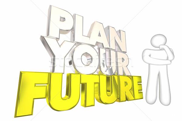 Plan toekomst dromen leven denker 3d illustration Stockfoto © iqoncept