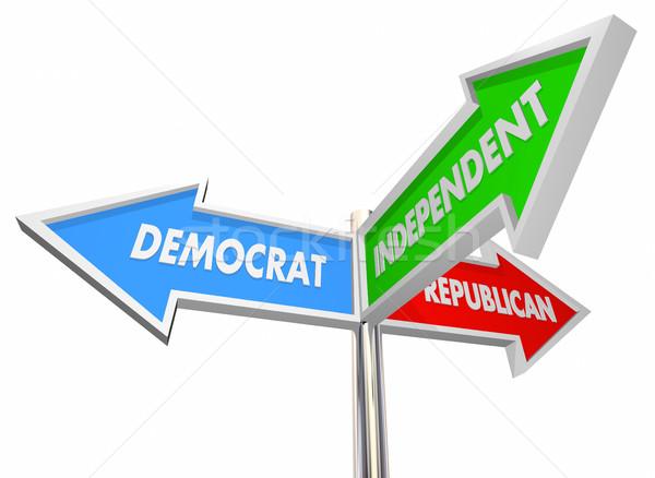 Demokrat republikanisch unabhängig drei Zeichen 3D-Darstellung Stock foto © iqoncept