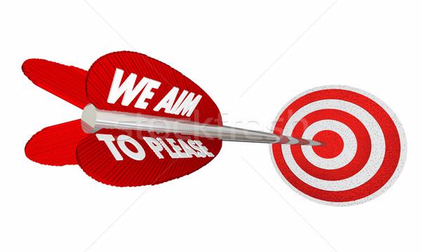 We Aim to Please Arrow Target Bulls Eye 3d Illustration Stock photo © iqoncept