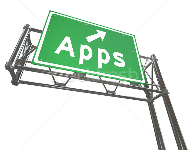 Apps Word on Freeway Sign - Application Store Stock photo © iqoncept
