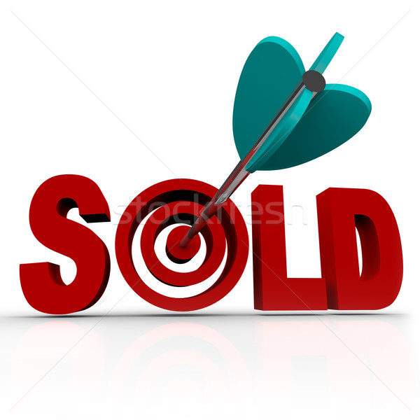 Sold - Arrow in Word Bullseye - Done Deal Transaction Stock photo © iqoncept