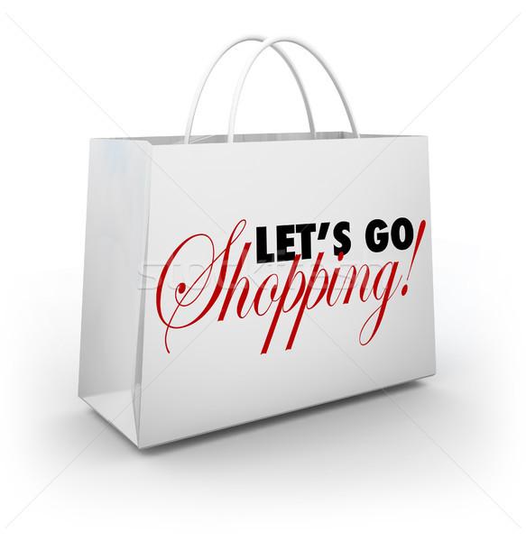 Stock fotó: Vásárlás · fehér · áru · táska · szavak · bevásárlószatyor