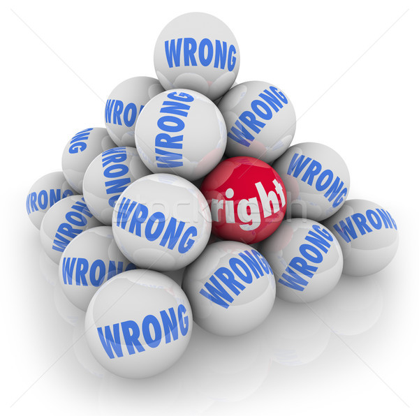 Right Ball Choice Among Wrong Alternatives Pick Best Option Stock photo © iqoncept