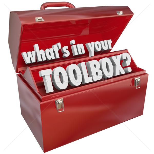 Caixa de ferramentas vermelho metal caixa de ferramentas habilidades experiência Foto stock © iqoncept