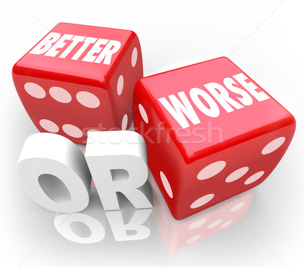 Better Worse Two Red Dice Words Improve Chance Stock photo © iqoncept
