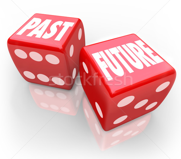 Past Vs Future Dice Today Tomrrow Comparison Betting Gamble Stock photo © iqoncept