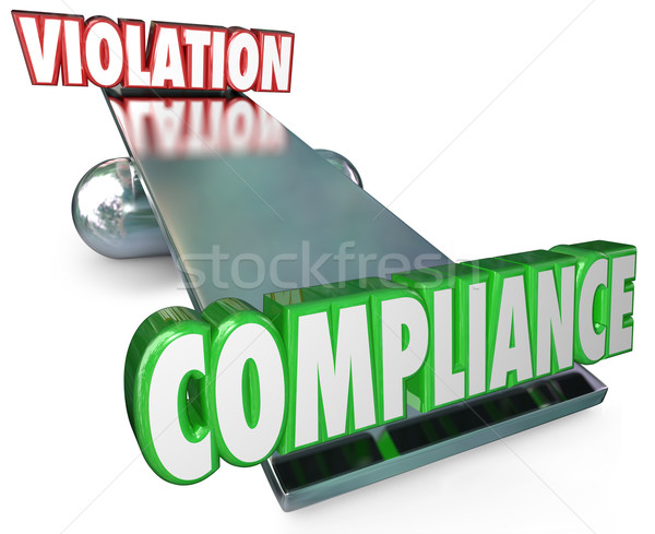Compliance Vs Violation See-Saw Balance Following Rules Laws Stock photo © iqoncept