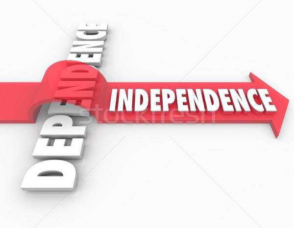 Flecha palabra dependencia ilustrar toma Foto stock © iqoncept