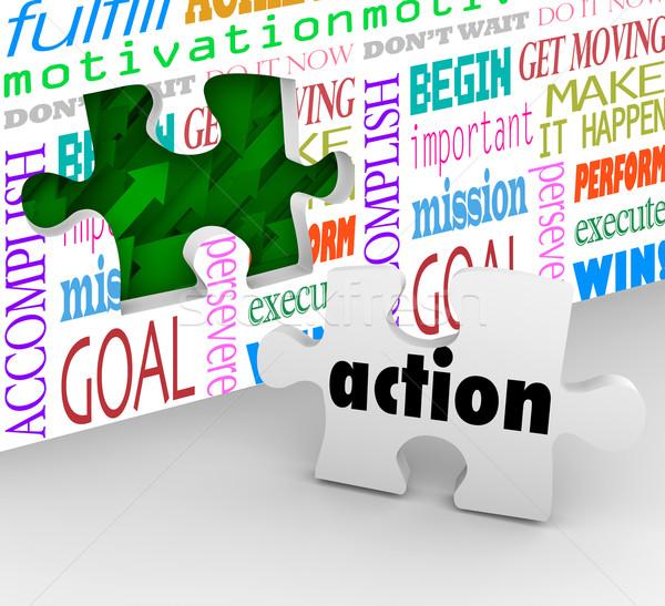 Action Word Puzzle Piece Wall Hole Proactive Ideas Active Succes Stock photo © iqoncept