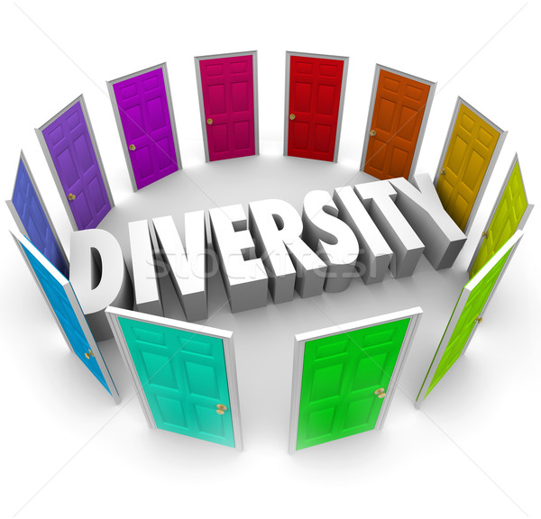 Diversidade 3D palavra muitos étnico Foto stock © iqoncept