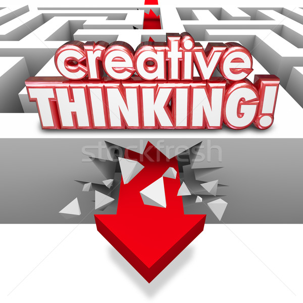 Creative Thinking Solving Problem Crashing Through Maze Arrow Stock photo © iqoncept