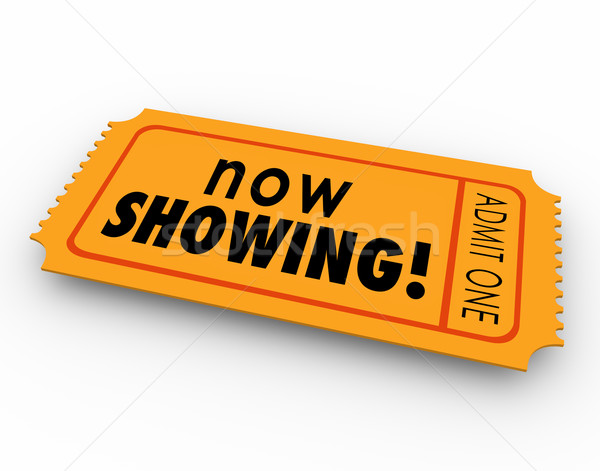 Now Showing Words Movie Ticket Pass Watch Video Online Webinar E Stock photo © iqoncept