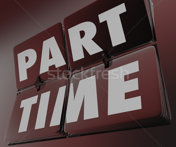 Part Time Work Words Retro Tile Clock Under Employment Low Pay W Stock photo © iqoncept