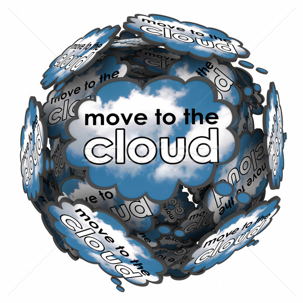 Move to the Cloud Thought Bubbles Idea Plan Online Software Serv Stock photo © iqoncept