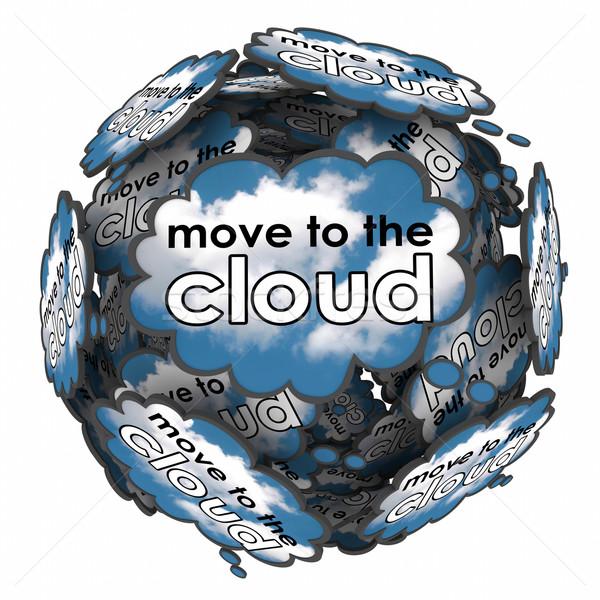 Verplaatsen wolk dacht bubbels idee plan Stockfoto © iqoncept