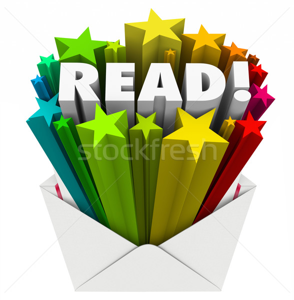 Read Word Stars Envelope Share Message Mailing Outreach Stock photo © iqoncept