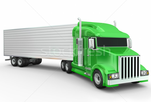 Green Semi Trailer 3d Illustrated Generic Truck Stock photo © iqoncept