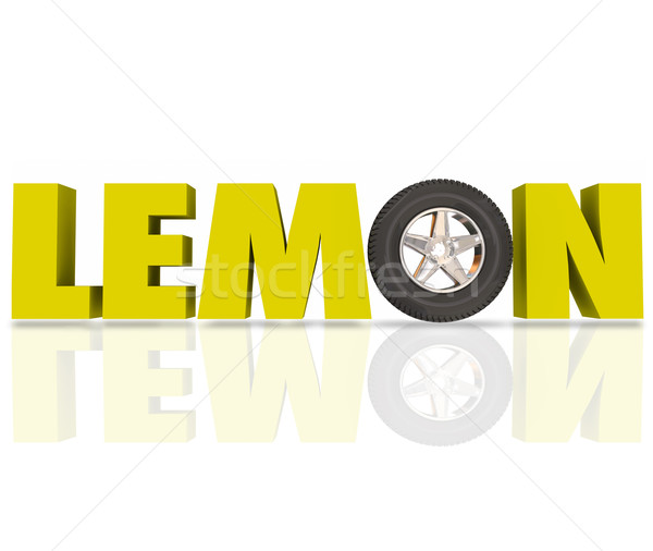 Lemon 3d Word Yellow Letters Defective Car Vehicle Recall Stock photo © iqoncept