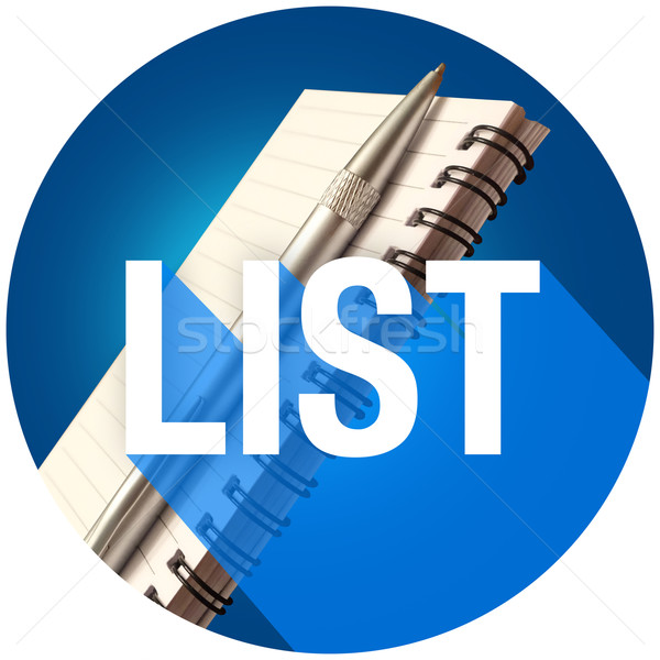 List Notepad Pen Word Long Shadow Remember Jobs Tasks Circle Stock photo © iqoncept