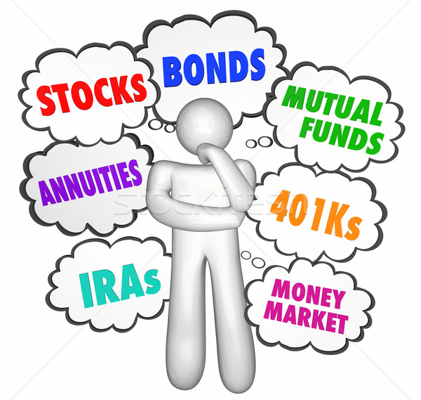 Financial Advice Thinker Thought Clouds Stocks Money Investments Stock photo © iqoncept
