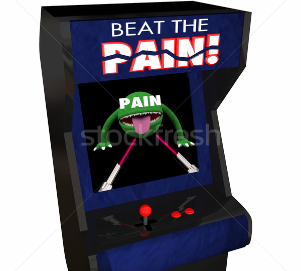 Beat Pain Treatment Medicate Feel Better Arcade Video Game 3d Il Stock photo © iqoncept