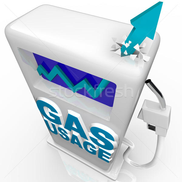 Stock photo: Gas and Fuel Usage - Arrow Rising on Gasoline Pump