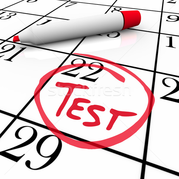 Test Day Circled on Calendar - Nervous for Exam Stock photo © iqoncept