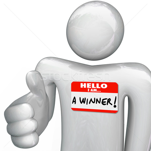 Hello I Am a Winner Nametag Person Greeting Handshake Stock photo © iqoncept