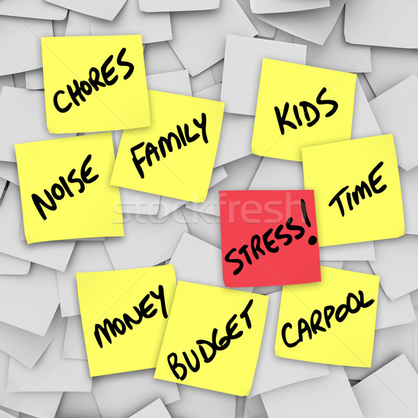 Stress Burdens Sticky Notes Reminders for Stressful Life Stock photo © iqoncept