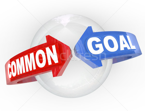 Common Goal Two Arrows Meet Around Sphere Mutual Interest Stock photo © iqoncept