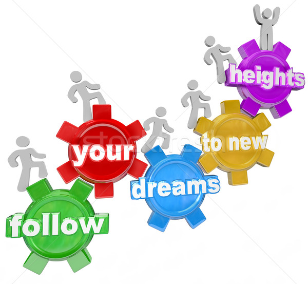 Follow Your Dreams to New Heights People Climbing Gears Stock photo © iqoncept