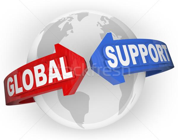 Foto stock: Global · apoyo · flechas · alrededor · mundo · internacional