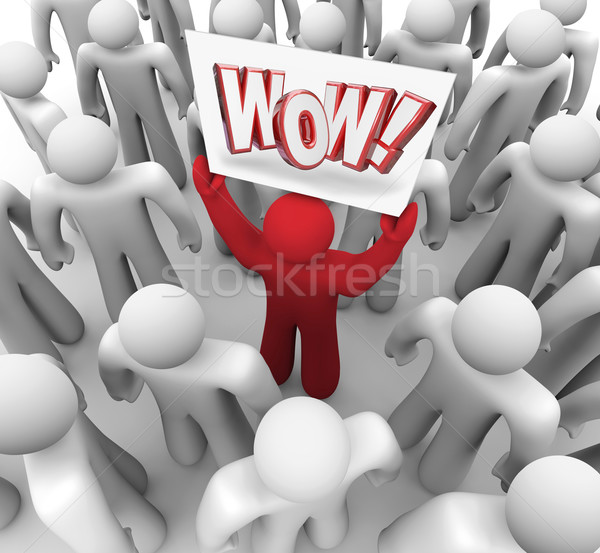 Man Holding Wow Sign in Crowd Suprise Customer Satisfaction Stock photo © iqoncept