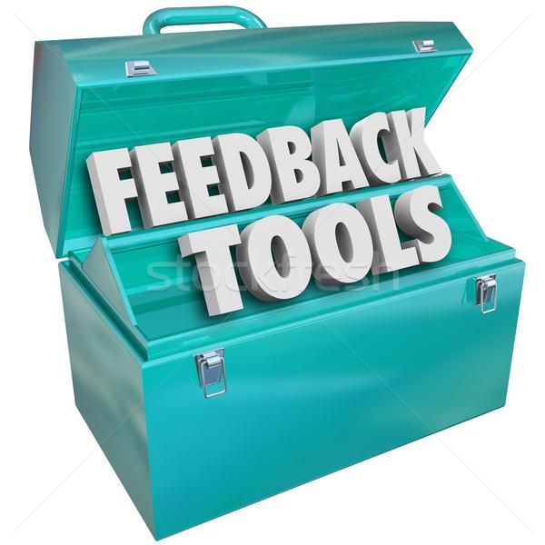 Feedback herramientas caja de herramientas comentarios opiniones palabras Foto stock © iqoncept