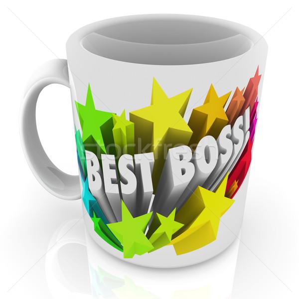 Mejor jefe taza de café superior líder gerente Foto stock © iqoncept