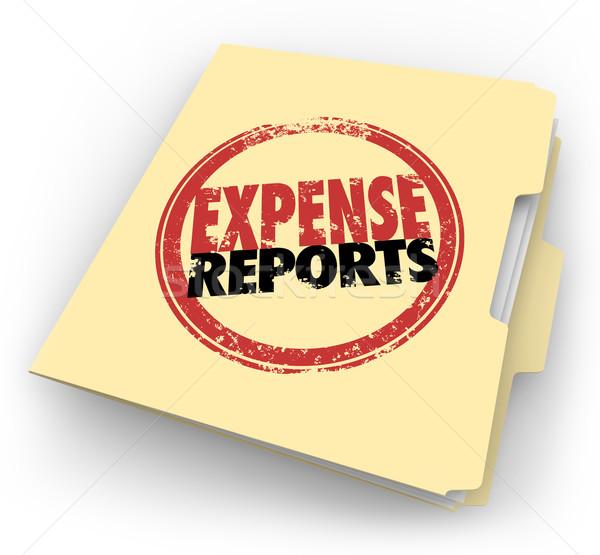 Koszt sprawozdanie pieczęć Manila folderze dokumentów Zdjęcia stock © iqoncept