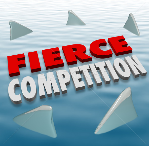 Fierce Competition Shark Fins Water Difficult Challenge Game Stock photo © iqoncept