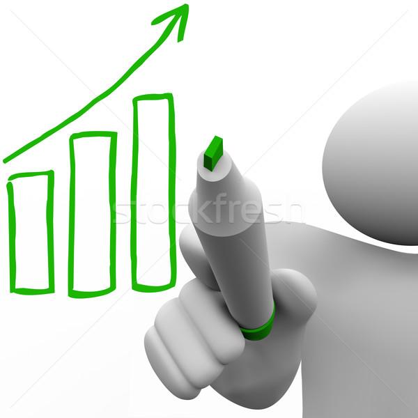 Dibujo crecimiento gráfico de barras bordo persona marcador Foto stock © iqoncept
