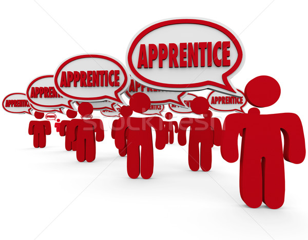 Apprentice Word in Speech Bubbles Trainee Workers Learning Skill Stock photo © iqoncept