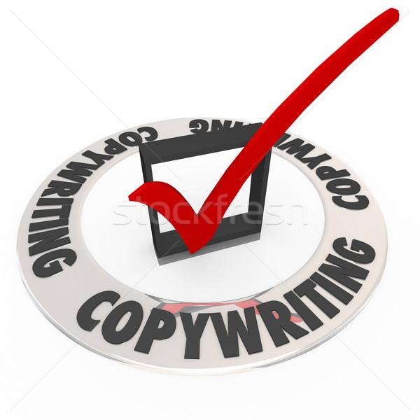 Copywriting Check Box Mark Great Message Communication Sell Prod Stock photo © iqoncept
