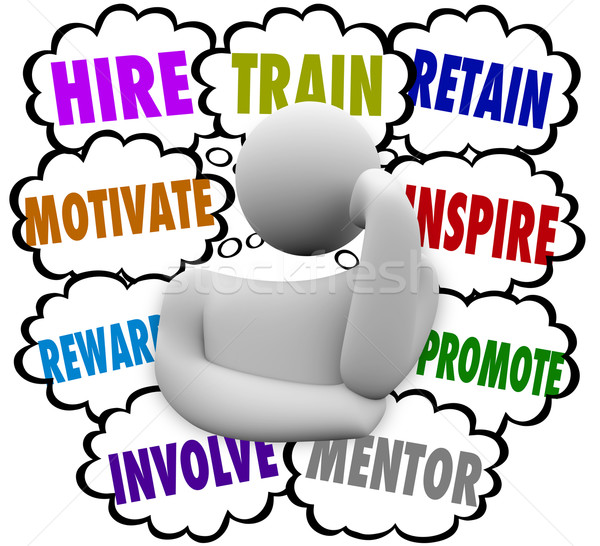 Hire Train Motivate Reward Inspire Retain Thought Clouds Keep Em Stock photo © iqoncept