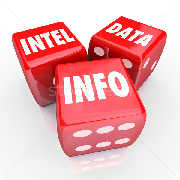 Intel Data Info 3 Red Dice Words Find Information Stock photo © iqoncept