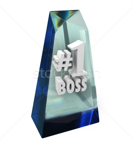 Number One 1 Boss Prize Award Trophy Manager Apprecition Stock photo © iqoncept