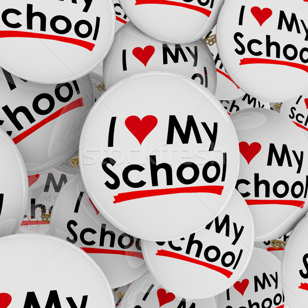 I Love Heart My School Buttons Pins Pride Proud Students Stock photo © iqoncept