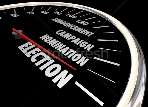 Election Voting Democracy Campaign Nomintation Speedometer 3d Il Stock photo © iqoncept